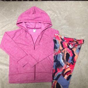 Girls sporty bundle - Adidas leggings + zip hoodie